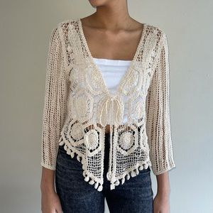 Fever Beige Crochet 3/4 Sleeves Cardigan Tie Knot